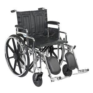 Drive Medical Sentra Extra Heavy Duty Wheelchair w Detachable Desk Arms and Elevating Leg Rest, 20 inch, 1 ea