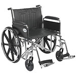 Drive Medical Sentra EC Heavy Duty Wheelchair with Detachable Full Arms and SwingAway Footrest, Black, 24 inch- 1 ea