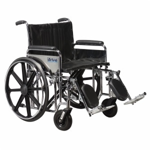 Drive Medical Sentra Extra Heavy Duty Wheelchair w Detachable Full Arms and Elevating Leg Rest, Black, 22 inch, 1 ea
