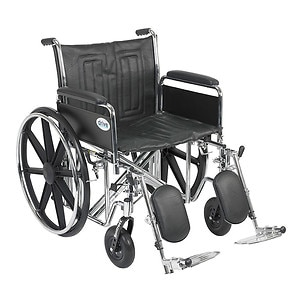 Drive Medical Sentra EC Heavy Duty Wheelchair with Detachable Full Arms and Elevating Leg Rest, Black, 22 inch