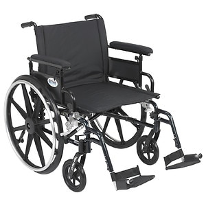 Drive Medical Viper Plus GT Wheelchair w Flip Back Removable Adjustable Full Arm and Foot Rest, Black, 22 Inch- 1 ea