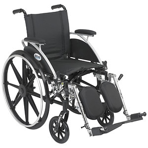 Drive Medical Viper Wheelchair with Flip Back Removable Desk Arms and Elevating Leg Rest, 12 Inch