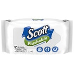 Scott Naturals Flushable Wipes, Refill- 51 ea