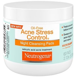Neutrogena Oil-Free Acne Stress Control Night Cleaning Pads- 60 ea