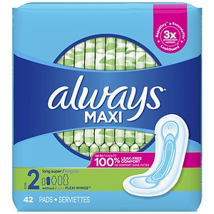 Always Maxi Pads without Wings, Unscented, Long/Super
