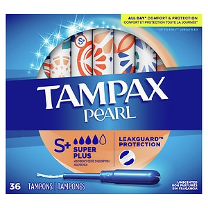 Tampax Pearl Tampons, Unscented, Super Plus- 36 ea