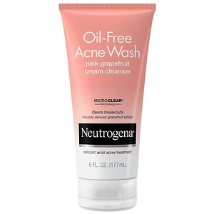Neutrogena Oil-Free Acne Wash Cream Cleanser, Pink Grapefruit, 6 fl oz