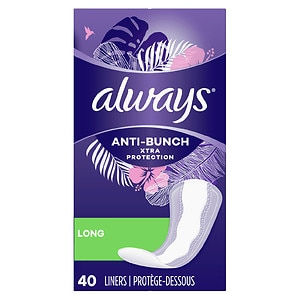 Always Xtra Protection Daily Liners, Long, Unscented, 40 ea