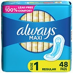 Always Maxi Pads, Regular without Wings- 48 ea