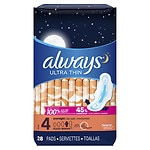 Always Ultra Thin Pads With Wings, Unscented, Overnight- 28 ea