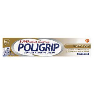 Super PoliGrip Denture Adhesive Cream, Extra Care- 2.2 oz