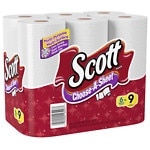 Scott Paper Towels, Choose-a-Size, Mega Roll, 6 pk, White- 102 sh