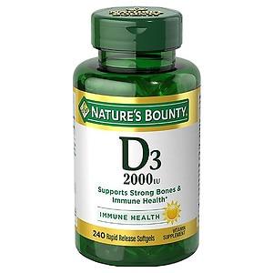 Nature's Bounty Vitamin D3-2000 IU, Softgels- 200 ea