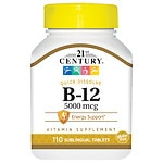 21st Century Sublingual Vitamin B-12 5000mcg- 110 tablets
