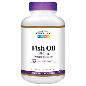 21st Century Enteric Coated Fish Oil 1000mg, Reflux Free- 180 Softgels