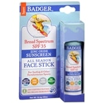Badger Unscented Sunscreen Face Stick, SPF 30, Unscented