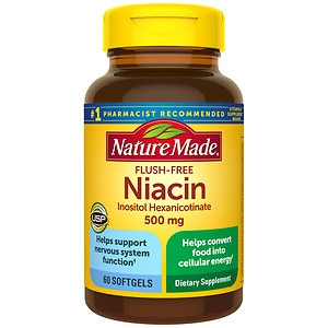 Nature Made Flush-Free Niacin, 500mg, Liquid Softgels- 60 ea