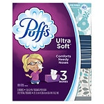 Puffs Ultra Soft & Strong Facial Tissues, 3 boxes (124 count each)