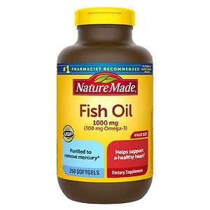 Nature Made Fish Oil 1000mg, 300mg Omega-3, Liquid Softgels- 250 ea