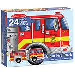 Melissa and Doug Giant Fire Truck Floor (24 pc) Ages 3+- 1 ea