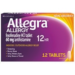Allegra 12 Hour Allergy, 60mg Tablets- 12 ea