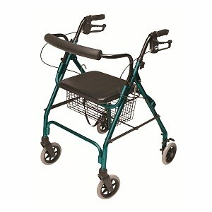 Lumex Walkabout Lite 4 Wheel Rollator, Teal Green