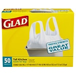 Glad Tall Kitchen Bags, Handle-Tie, 13 gallon, White