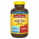 Nature Made Burp-Less Fish Oil 1200mg, 360mg Omega-3, Liquid Softgels- 200 ea