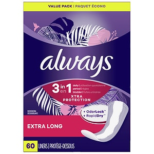 Always Xtra Protection with Odor-Lock Daily Liners, Extra Long, 2pk