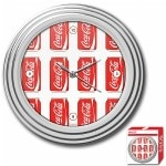 Trademark Global Coca-Cola Clock, Cans Style, Chrome Finish, 11.75 inches