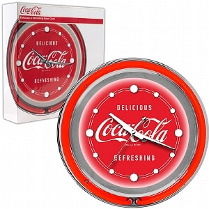 Trademark Global Coca Cola Neon Clock - Delicious Refreshing - Two Neon Rings