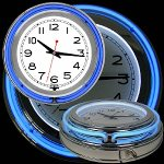 Trademark Global 14 Inch Double Ring Neon Clock Blue Outer White Inner