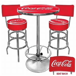 Trademark Global Ultimate Coca-Cola Gameroom Combo - 2 Stools w/Back & Table- 1 ea