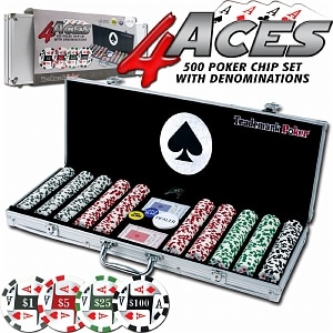 Trademark Poker 4 Aces 500 11.5g Poker Chip Set w/ Aluminum Case- 1 ea