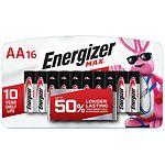 Energizer Max Alkaline Batteries, AA- 16 ea