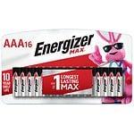 Energizer Max Alkaline Batteries, AAA- 16 ea