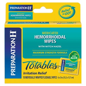 Preparation H Totables, Hemorrhoidal Wipes with Witch Hazel, 10 ea
