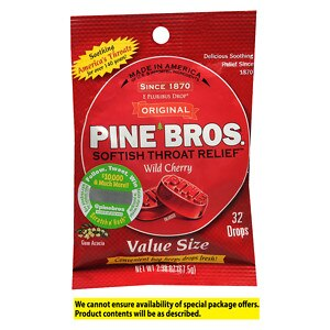Pine Bros. Softish Throat Drops Value Pack, Wild Cherry- 32 ea