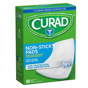Curad Non-Stick Pads, 8 x 3 in