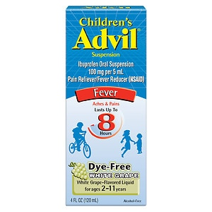 Children's Advil Ibuprofen Fever Reducer/Pain Reliever Oral Suspension, Dye-Free, White Grape- 4 fl oz