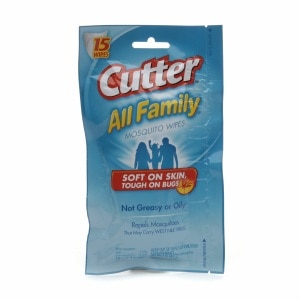Cutter All Family Mosquito Wipes, 15 ea