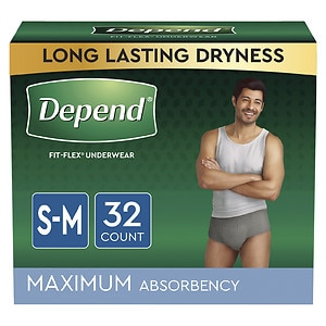 Depend for Men Underwear - Bonus Pack, Maximum Absorbency, Small/Medium