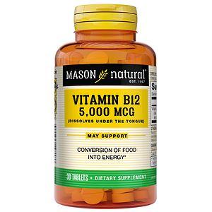 Mason Natural Vitamin B-12, 5000mcg, Sublingual Tablets- 30 ea