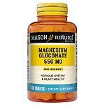 Mason Natural Magnesium Gluconate, 550mg, Tablets- 100 ea