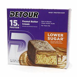 Detour 15g Whey Protein Bar, Lower Sugar, Peanut Butter Cream, 9 ea