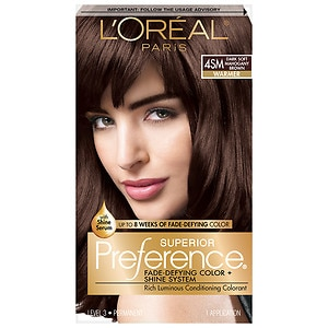 L'Oreal Superior Preference Fade Defying Color & Shine System, Permanent, Dark Soft Mahogany Brown 4SM
