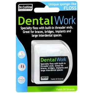 Dr. Collins Dental Work Specialty Floss for Bridges and Implants- 50 ea