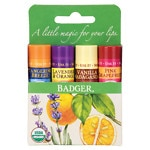 Badger Classic Lip Balm Sticks, Tangerine, Lavender & Orange, Vanilla & Grapefruit