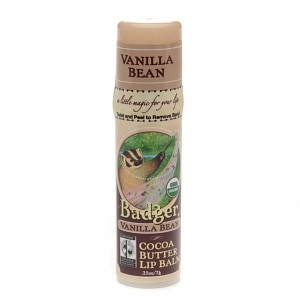 Badger Cocoa Butter Lip Balm, Vanilla Bean- .25 oz