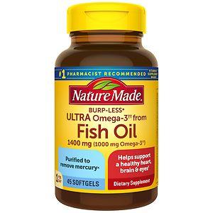 Nature Made Ultra Omega-3 Fish Oil, 1400mg, Liquid Softgels- 45 ea